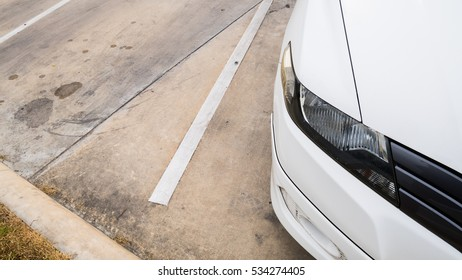 light car with line on the road