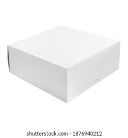 Light cardboard box for a hamburger or cake. Closed, isolated on white