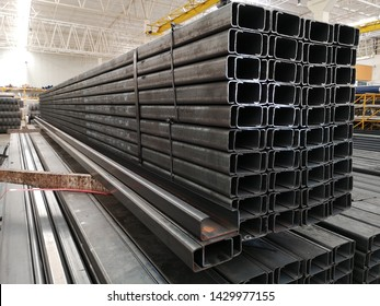 stack​ of light lip​ channel steel  or C​ channel steel​ for​ construction supplies​