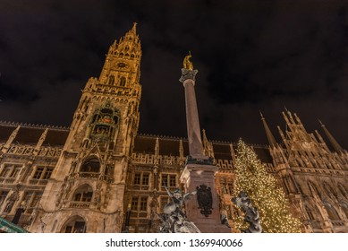 light up of the city hall in the season of Christmas Munich. Germany