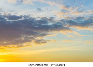 Light Colorful sunset light sky with cloud nature landscape