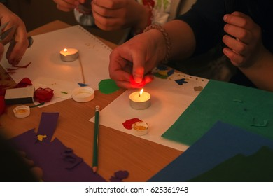 Light and colors of the candles. Candles handy for a variety of applications.
