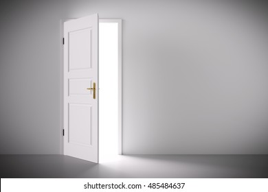 Ordinaire Light Coming From Half Open Classic White Door. Concepts Of New Life, Hope,