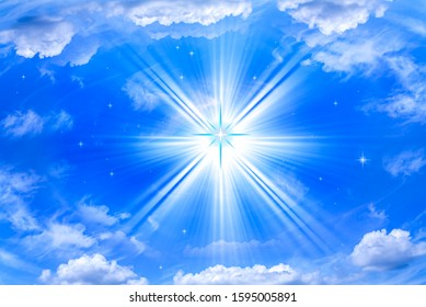 Light coming from the star. religion background . history from the Bible.