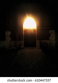 Light coming through church entrance