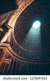 Light coming through the oculus in the roof of Pantheon in Rome