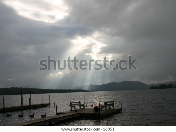 light coming throught clouds digtal  early moring