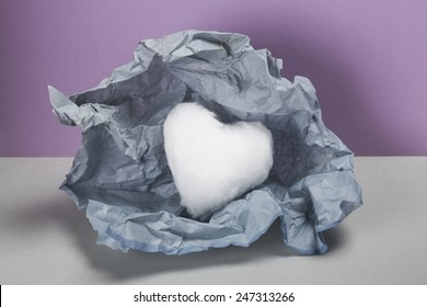 Light cotton wool heart shape, Valentines unwrapped gift