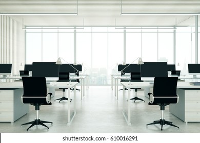 Light coworking office interior with city view. 3D Rendering