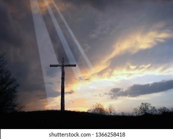 Light at the Cross of Jesus Taken After a Tornado