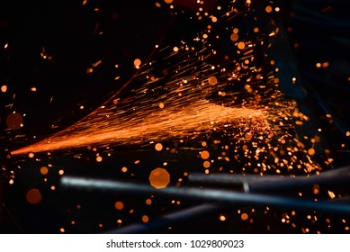 Light from cutting steel