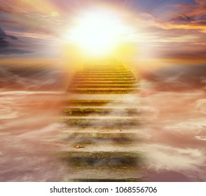 Light in dark sky . Stairs in sky .  Religion for the person . Way to heaven  .  Religious background .  Way to success  - Shutterstock ID 1068556706