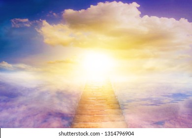 Light in dark sky . Stairs in sky . Religion for the person . Way to heaven  . Religious background . Way to success