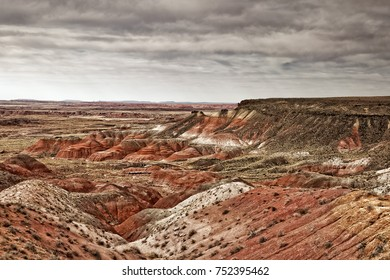 As the light of day changes, so do the colors and textures of the Painted Desert at the Petrified Forest National Park near Holbrook, Arizona.