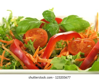 Light dietary salad with fresh and healthy vegetables