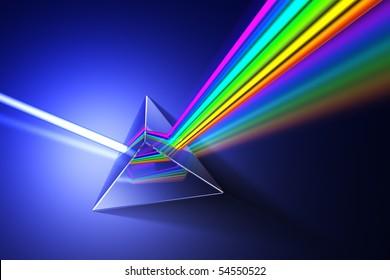 Light dispersion illustration. Hi-res 3d rendering.