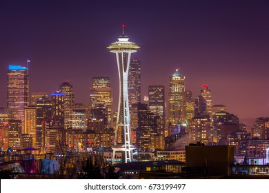 The light of downtown Seattle at night