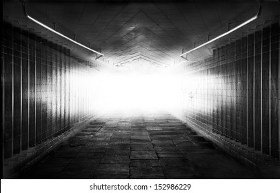 Light at the end of tunnel. black and white photo