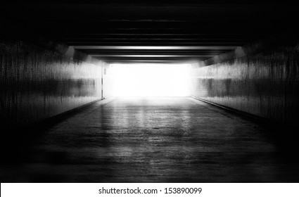Light at the end of tunnel black and white