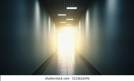 Light at the end of tunnel or corridor, abstract hope and way to freedom concept, toned