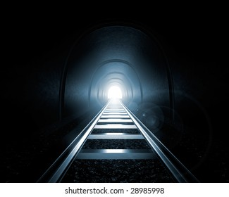 Light at the End of the Tunnel - A railroad tunnel with a light at the end - 3D illustration.
