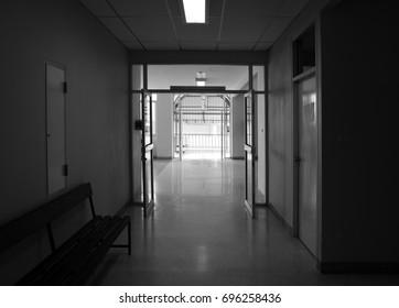 Light entering the interior inside the hospital.