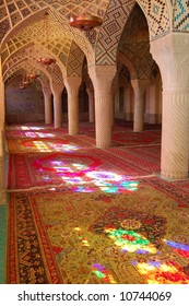 Light entering mosque through stained glass.  Shiraz.  Iran.