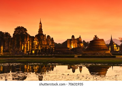 the light in the evening of old Sukothai city , Thailand ,