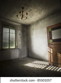 Light falls trough the window creating an amazing atmosphere with the shades on the floor.