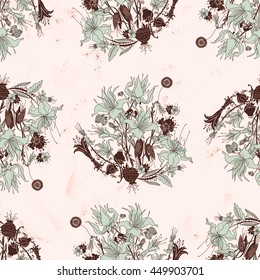 light flower seamless pattern on colored background