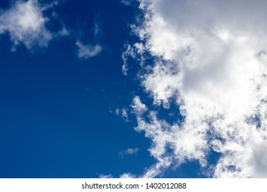 Light fluffy clouds against a blue sky in the summer