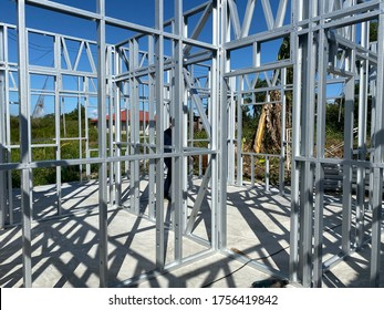 Light gauge steel framing system used for house construction. Wall to be clad with fibre cement board