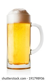 Light glass of fresh beer isolated on white background