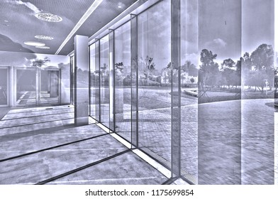 Light, glass and reflection in a building with modern architecture