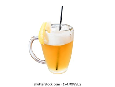 Light golden beer with lemon and straw isolated on white background. Frothy beverage in drinking glass cut out