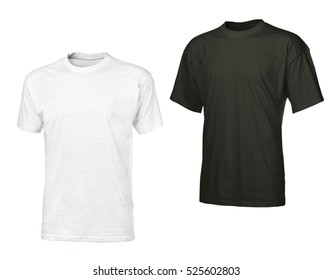 Light gray and black t shirts with copy space for your logo or text, design element, isolated on white background
