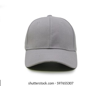 Light gray blank baseball cap closeup of front view on white background