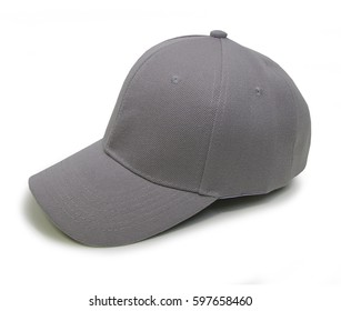 Light gray blank baseball cap closeup of isolated view on white background