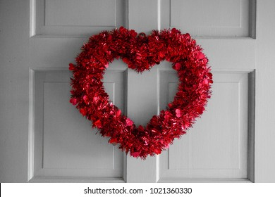 Light Gray Door with Red Wreath for Valentine's Day