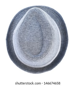 Light gray hat with a tape isolated over white background, view above