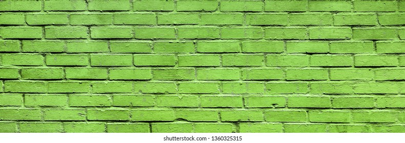 Light green Brick wall texture close up. Top view. Modern brick wall wallpaper design for web or graphic art projects. Abstract background for business cards and covers. Template or mock up.