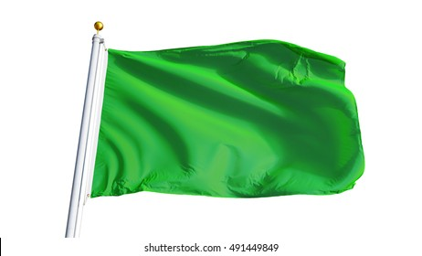 Light green flag waving on white background, close up, isolated with clipping path mask alpha channel transparency