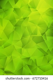 Light Green low poly pattern. Geometric illustration in Origami style with gradient.  The template can be used as a background for cell phones.