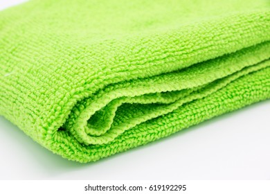Light green microfiber cloth isolated on white background