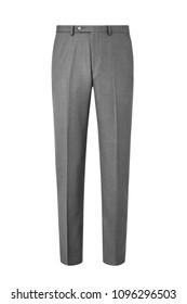 Light grey formal mens trousers isolated on white background
