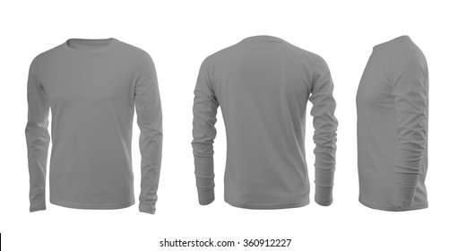 Light grey men's T-shirt with long sleeves with rear and side views on a white background