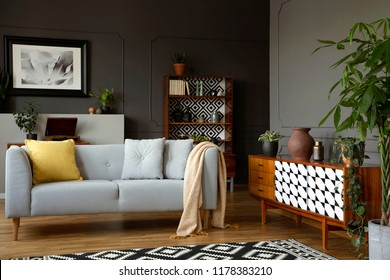 Light grey sofa with blanket and pillows standing in real photo of open space sitting room interior with wainscoting on the wall and retro cupboards