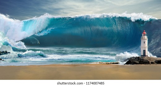 light hous and wave
