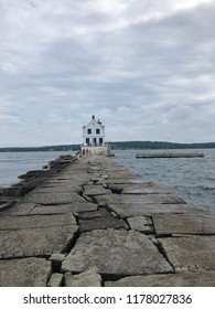 light house on a breakwater (Rockland ME)