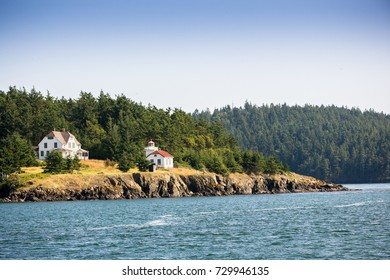 Light house seen during a Orca Whales Tour from Anacortes to San Juan Island Washington, USA,